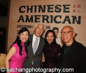 Agnes-Hsu Tang and her husband Oscar Tang, Lia Chang and Ping Chong at the opening reception of Chinese American: Exclusion/Inclusion at the New-York Historical Society in New York on September 23, 2014. Photo by Don Pollard